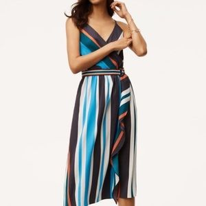 LOFT faux wrapped striped dress with belted waist